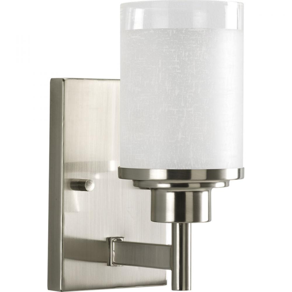 One light brushed nickel white linen glass bathroom sconce p2959 one light brushed nickel white linen glass bathroom sconce aloadofball Images