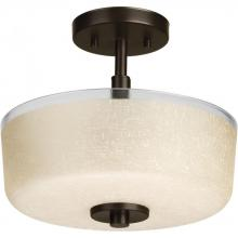 Progress P2851-20 - Two-light close-to-ceiling with etched umber linen glass bowl